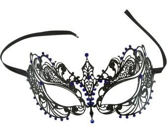 Black Laser Cut Masquerade with Blue Rhinestones -BA001BLBK