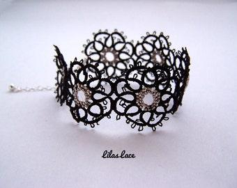 Black and silver bracelet - black lace silver beads - crafts - high fashion jewelery - filigree lace - bead lace bracelet jewellery