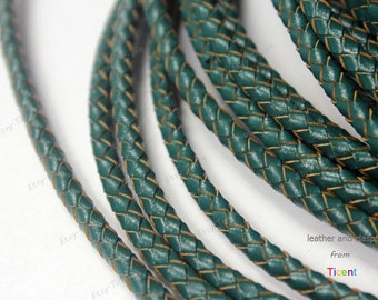 5mm Round Forest Green Leather Bolo Cord, Jewelry Making Leatherworking Braided Leather Bracelet Craft BP5M-95