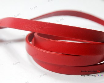 8mmx2mm Red Flat Leather, 8mm Genuine Cow Hide Leather Strip GF8M-14