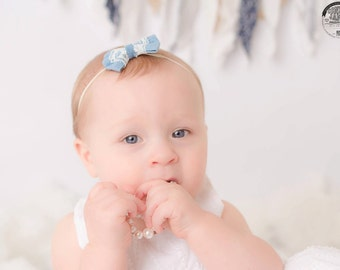 Newborn Denim Bow headband, Newborn Photo Prop.