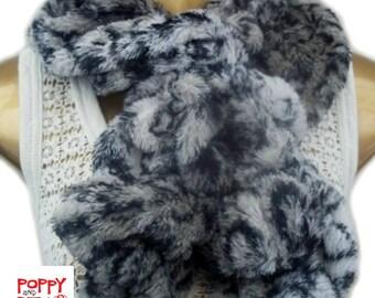 Faux Fur Scarf, Grey Chinchilla Handmade Scarf, Twisted Tuck-In Design, Faux Fur Scarf, Stole, Wrap, Ruched Scarf.