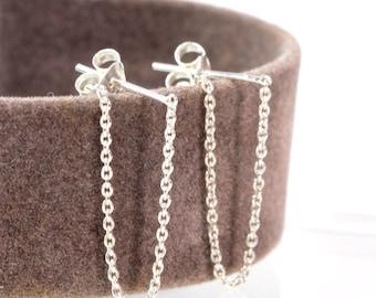 Sterling Silver Post Chain Earrings, Silver Chain Earrings, Post chain earring, Minimalist Earrings, Earring with chain, Dainty Earring