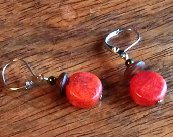 0134 - Coral and amber Earrings