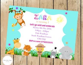 Jungle, Safari party invitations. Bright Birthday party invites.