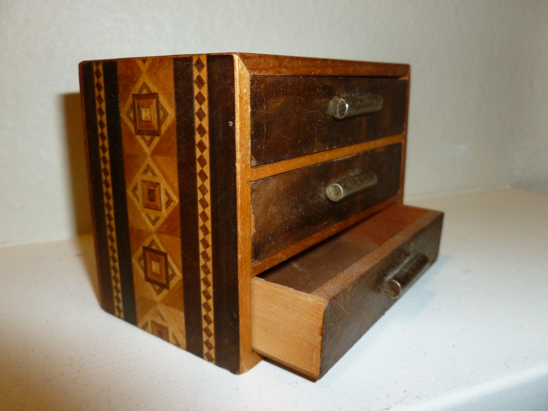 vintage miniature chest of drawers trinket box jewelry box. Black Bedroom Furniture Sets. Home Design Ideas