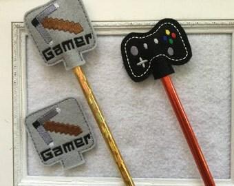 Gamer Pencil topper, Gamer Feltie, set of 4 , Always precut