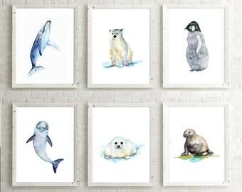 Set of 6 baby animals - Watercolor paintings - Art Prints - Beach Nursery room - penguin walrus whale seal polar bear dolphin art ocean art