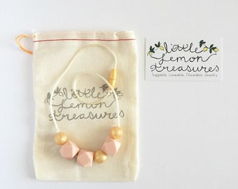 Toddler Girls Necklace, Silicone Teething Necklace, Gold, Rose Quartz Silicone Necklace, Little Girl Jewelry