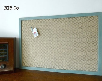 LargeNotice Board Memo Board Pin Board Alternative. Hand made peg board - Aged duck egg blue frame with rustic linen backing