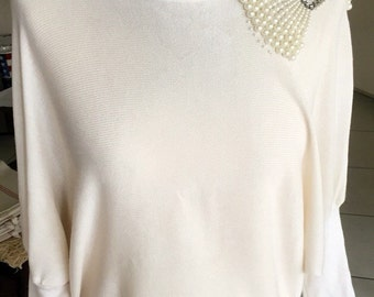 Superb pull fine ivory-coloured tunic, size 42 or L