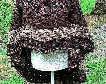 Poncho Hand Crocheted Asymmetrical  One size