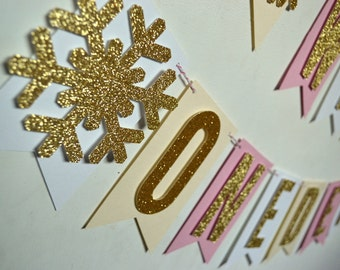 Winter Onederland 1st Birthday Party Banner Snowflake Banner Blush Pink and Gold Glitter