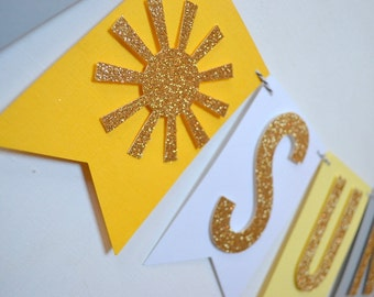 Little Sunshine Baby Shower, Sip and See or Birthday Banner Yellow gray glitter gold