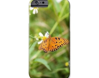 Orange Butterfly Cell Phone Case Photo iPhone 4 4s 5 5c 5s 6 6s 6 Plus Samsung Galaxy S4 S5 S6 Slim Profile Hard Case Insect Nature