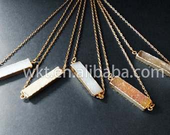 WT-N373 New! Wholesale long rectangle natural druzy agate jewelry necklace