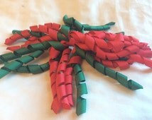 Red and Green Korker Ribbon Christmas/ Holiday Pony O attached to Red Elastic Ponytail Holders/ Elastic Pigtail Holders