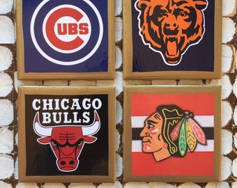 COASTERS!!!! I Heart Chicago Sports Set of 4 Ceramic Coasters with hand painted gold trim