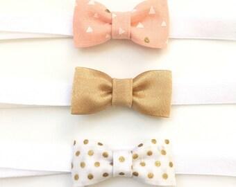 Baby Bow Headbands - Gold Headband - Tiny Bow Headbands - Newborn Headbands - Tiny Bows - Petite Bows
