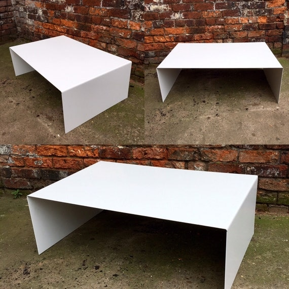 Industrial Coffee Table White: Industrial Chic All Steel White Cube Coffee Table Metal TV