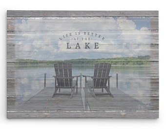 Life is Better at the Lake Sign, Lake House Decor, Lake Life Saying, Canvas Wall Art for Lake Cabins, Adirondack Chair Canvas Print