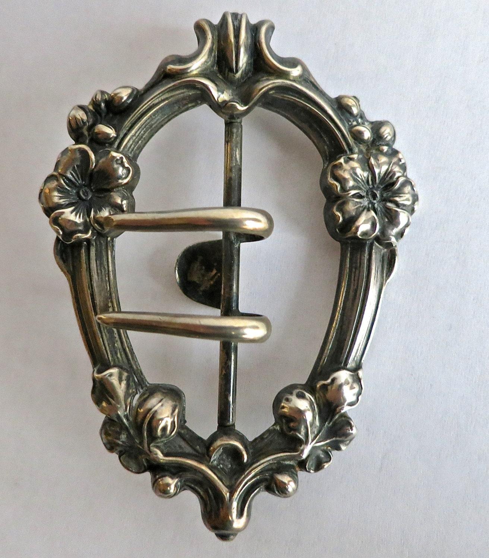 Antique Victorian Floral Belt Buckle