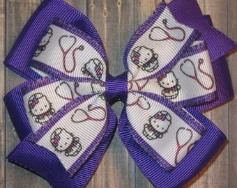 Hello Kitty Nurse Hair Bow / Hello Kitty Nurse Bow / Hello Kitty Bow / Nurse Bow / Nurse Gifts / Nursing