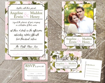 Garden Floral Wedding Invitation Set, Watercolor Invite Kit, Invite, RSVP, Save the Date, Thank You Card