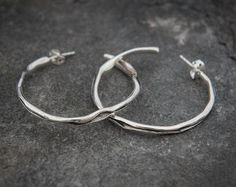 Sterling Silver Organic Wave Hoop Earrings