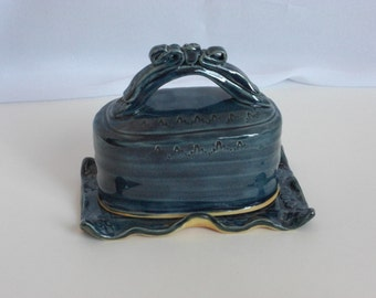 Storm blue covered butter dish, blue handmade ceramic butter dish