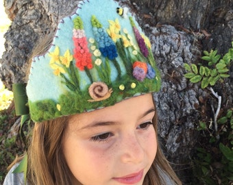 Felt Crown , Birthday Crown, Waldorf Crown Spring Garden too