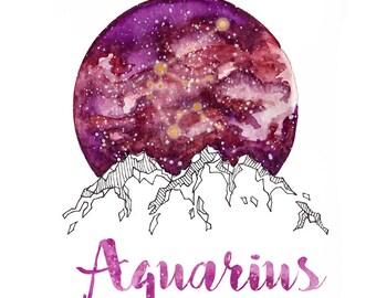 Aquarius  Zodiac Watercolour Painting