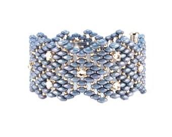 Bracelet - Blue Geometric Contemporary Beaded Bracelet with Crystals, Art Deco Bracelet, Geometric Bracelet, Blue Zig Zag Bracelet