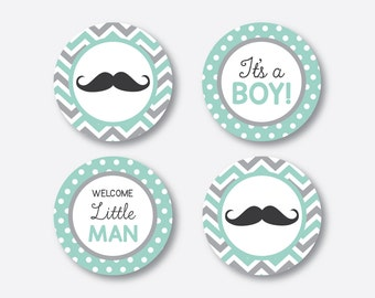 """Instant Download, Mustache Cupcake Toppers, Mustache Party Circle, Mint Gray Chevron Toppers, 2"""" circles, Little Man Cupcake Toppers(SBS.30)"""