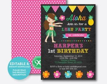 Instant Download, Editable Aloha Luau Birthday Invitation, Luau Invitation, Girl Luau Party Invitation, Hawaiian Party, Chalkboard (CKB.33)