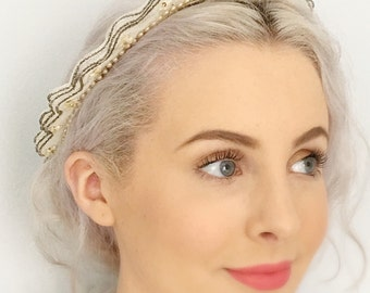 1920s French Antique Vintage Lace Tiara Bridal Crown