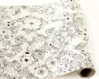 "Paper Table Runner Roll 20"" by 25' - Floral Pattern for Coloring"