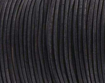 Leather Strap / Leather Cord *Vintage Black* - 2 mm | Top quality and soft goat skin 2/5 m - RL05502