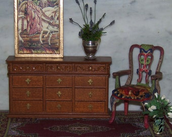 Vintage Bespaq 1:12th Dollhouse Chest of Drawers. Could be used as Buffet or Sideboard. Carved Wood.