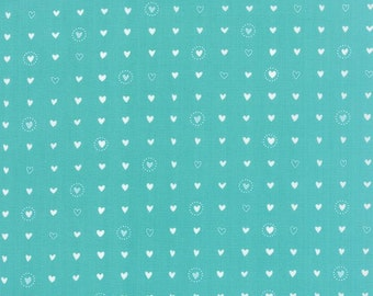 Lil Red Fabric - White Hearts on Turquoise Blue