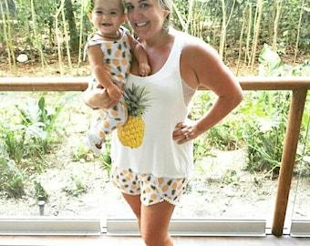 Women's (Xs-Xxl) Pineapple Pom Pom Trim Shorts. Mommy and Me. Spring Summer