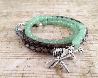 """Bracelet Aventurine and synthetic leather """"Lieblle"""""""