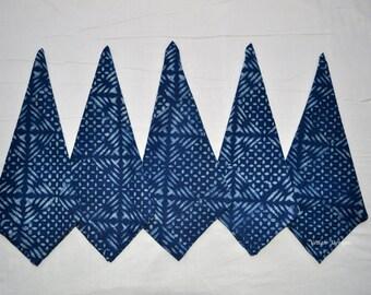 Made to order Set of 10 Vegetable print indigo napkin Wholesale mudcloth napkins