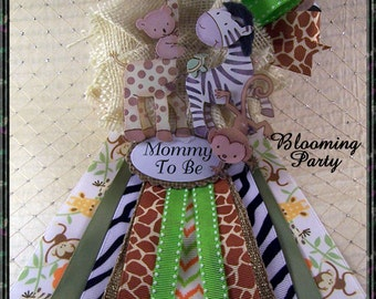 Safari Baby Shower Corsage Safari Mommy To Be Baby Shower Corsage Safari  Theme Corsage