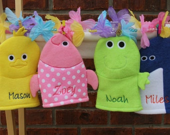 Personalized Character Bath Mitts