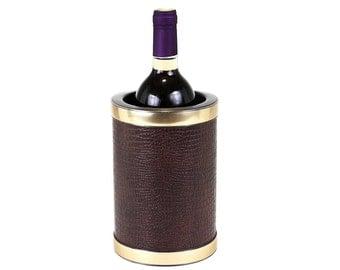 Kraftware Wine Cooler, Brown Leatherette Wine Bucket