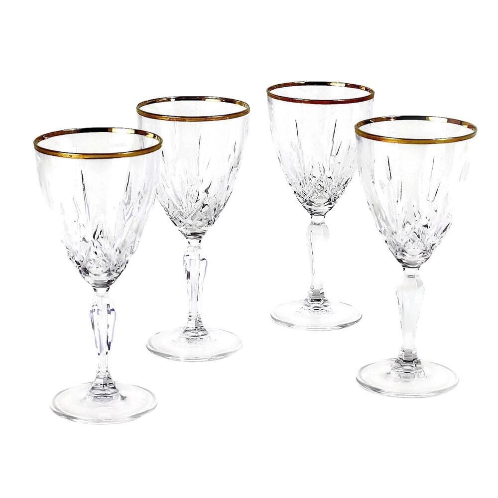 Sale Gold Rim Wine Glasses Cut Crystal Stemware Vintage