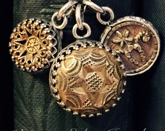 Antique Button Necklace Trio