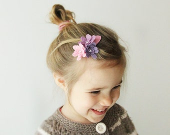 Pink  hair clip - Flower hair clip - Felt hair clip