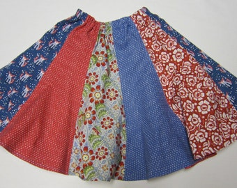 Red and Blue Girls Fox and Heart Twirly Skirt in Size   5  6